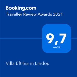 Booking review award Villa Eftihia in Lindos 2021
